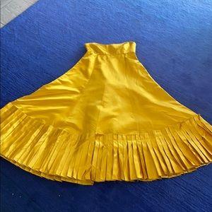 Vintage mustard yellow satin empire dress (2)